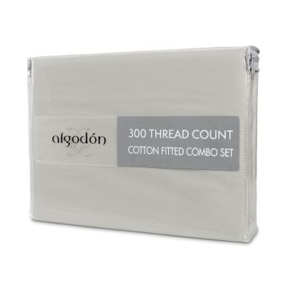 Algodon 300TC Cotton Fitted Sheet Combo Set, Queen, Silver