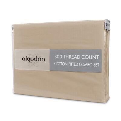 Algodon 300TC Cotton Fitted Sheet Combo Set, King Single, Stone