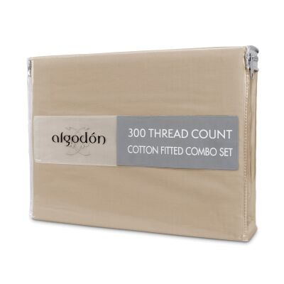 Algodon 300TC Cotton Fitted Sheet Combo Set, Mega Queen, Stone