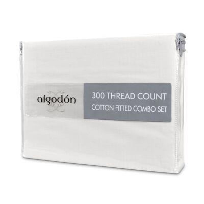 Algodon 300TC Cotton Fitted Sheet Combo Set, Double, White