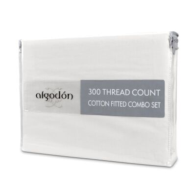 Algodon 300TC Cotton Fitted Sheet Combo Set, Mega Queen, White