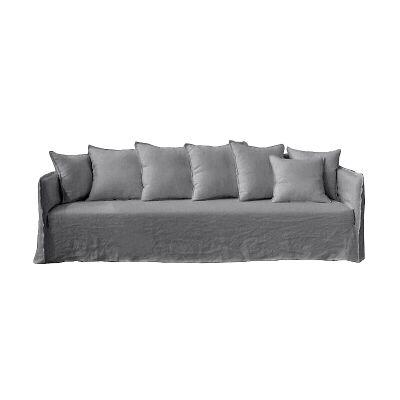 Casper Linen Slipcovered Sofa, 4 Seater, Grey