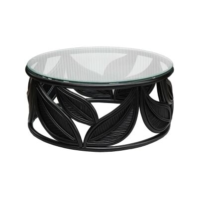 Seville Glass Topped Rattan Round Coffee Table, 81cm, Black