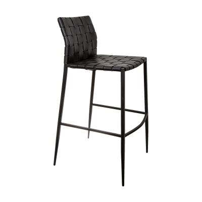 Jacq Leather Strap Counter Stool, Black