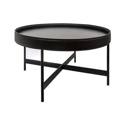 Henri Leather Tray Top Round Coffee Table, 70cm