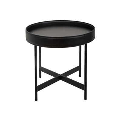 Henri Leather Tray Top Round Side Table