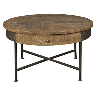 Sonnac Reclaimed Elm Timber & Iron Round Coffee Table, 80cm