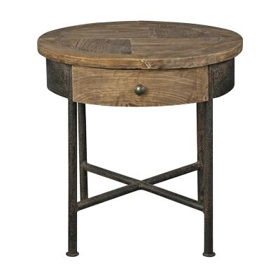 Sonnac Reclaimed Elm Timber & Iron Round Side Table