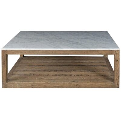 Aveyron Marble Topped Oak Timber Coffee Table, 120cm