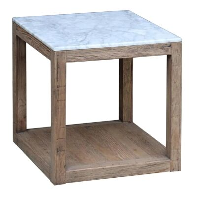Aveyron Marble Topped Oak Timber Side Table