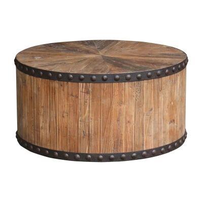 Florentin Oak Timber Round Coffee Table, 80cm