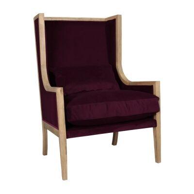 Jenner Velvet Fabric & Timber Wingback Armchair, Plum