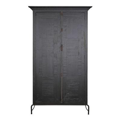 Jarvis Parquet Timber 2 Door Cupboard, Distressed Black