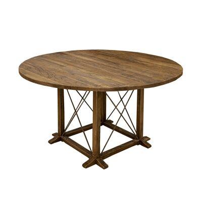 Denver Elm Timber Round Dining Table, 140cm