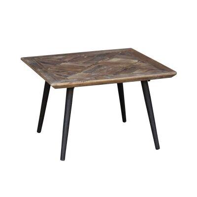 Denver Parquet Elm Timber Top Square Side Table