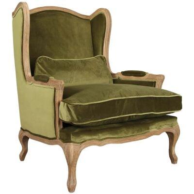 Grace Velvet Fabric Wing Back Lounge Armchair, Green