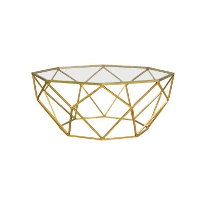 Russell Glass Top Metal Coffee Table, 94cm, Gold