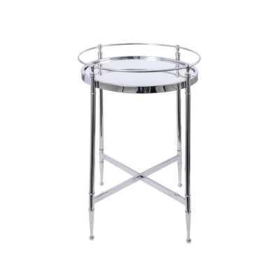 Cullen Glass Top Metal Round Side Table, Silver