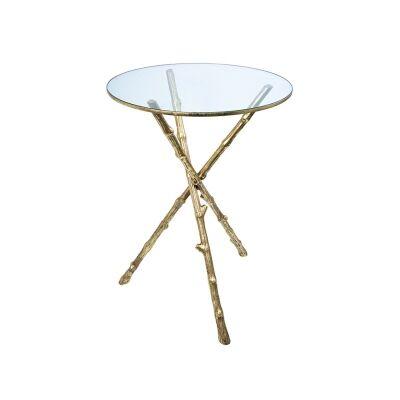 Fario Glass Top Metal Tripod Side Table