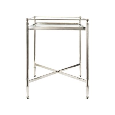 Cullen Glass Topped Metal Side Table, Square, Nickel