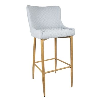 Gigi Quilted Fabric Counter Stool, Mist / Natural