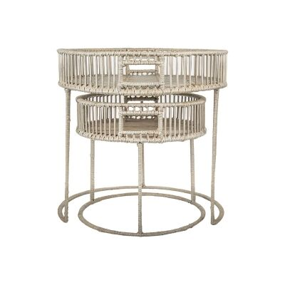 Bahama 2 Piece Oval Tray Top Nesting Table Set, Grey Wash