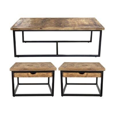 Sumatra 3 Piece Pine Timber & Iron Coffee Table Set, 130cm