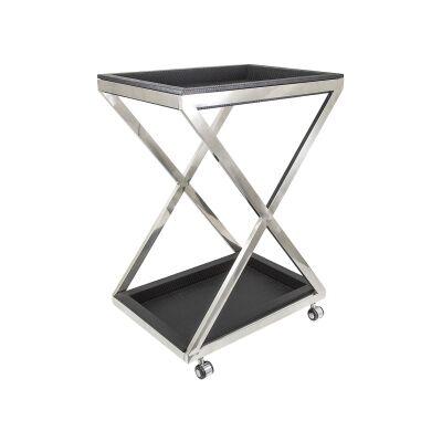 Alor Mock Croc Stainless Steel Bar Trolley