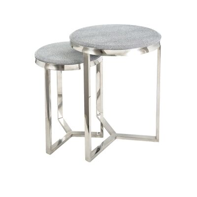 Alor 2 Piece Shagreen Round Stainless Steel Nesting Table Set