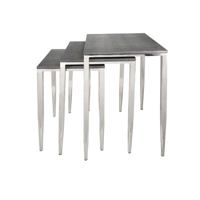 Alor 3 Piece Shagreen Stainless Steel Nesting Table Set