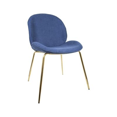 Oberlin Fabric Beetle Chair, Blue / Gold