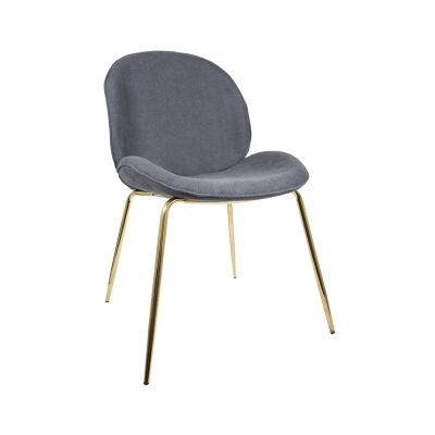 Oberlin Fabric Beetle Chair, Grey / Gold