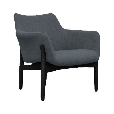 Vinko Fabric Lounge Armchair, Charcoal / Black