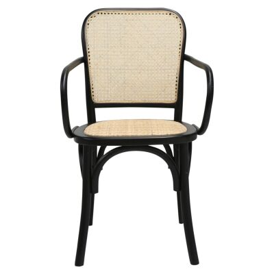 Cato Beech Timber & Rattan Dining Armchair, Black