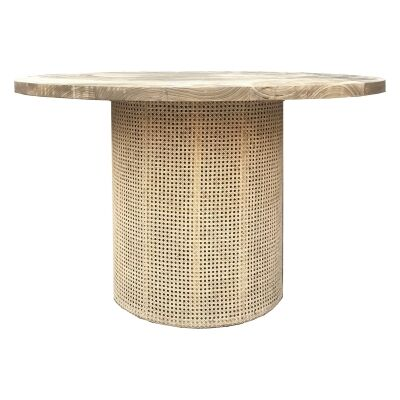Zoe Solid Sungkai Wood & Rattan Round Dining Table, 120cm