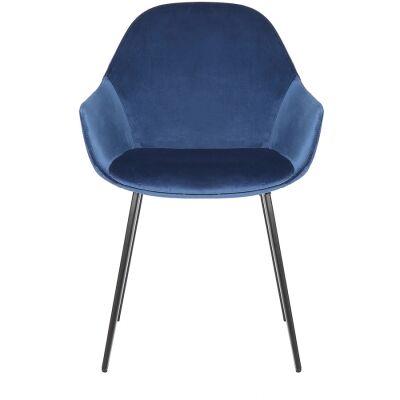 Fido Commercial Grade Velvet Fabric Dining Armchair, Royal Blue