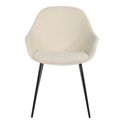 Fido Commercial Grade Boucle Fabric Dining Armchair, White