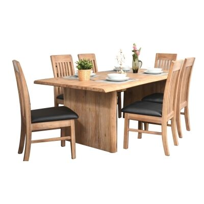 Ramsey 7 Piece Mountain Ash Timber Dining Table Set, 200cm