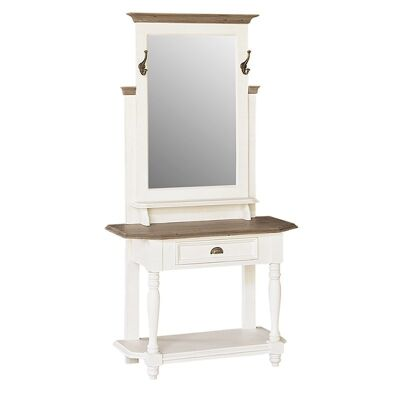 White Haven Solid Pine Timber Hall Stand with Mirror