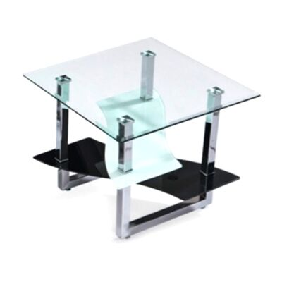 Norah Glass & Metal Square Lamp Table
