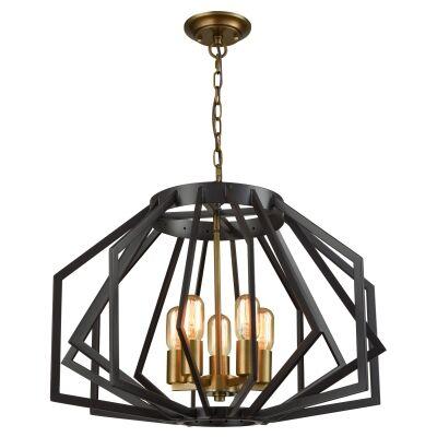 Gamba Metal Frame Pendant Light, Wide, Bronze