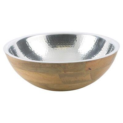 Ari Mango Wood & Aluminium Salad Bowl, Large