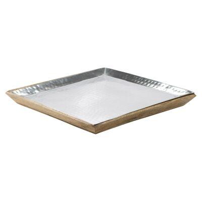 Ari Mango Wood & Aluminium Square Tray