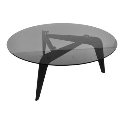 Boro Glass Top Round Coffee Table, Black