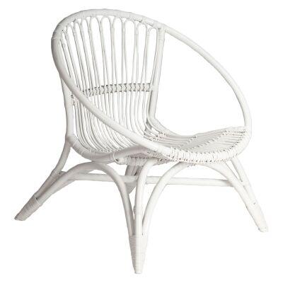 Tokyo Rattan Lounge Chair, White
