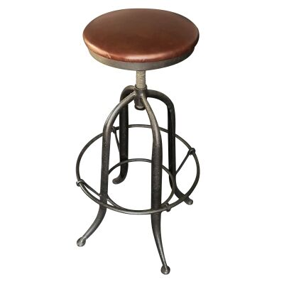 Francis Industrial Iron Adjustable Bar Stool with Leather Seat