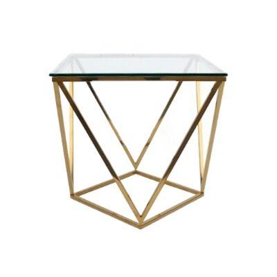 Hibbing Glass & Steel Lamp Table, Gold