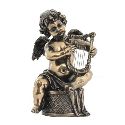 Veronese Cold Cast Bronze Coated Cherub Figurine, Playing Harp