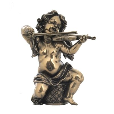 Veronese Cold Cast Bronze Coated Cherub Figurine, Playing Violin
