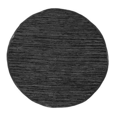 Gypsy Hand-tied Leather Round Rug, 240cm, Black